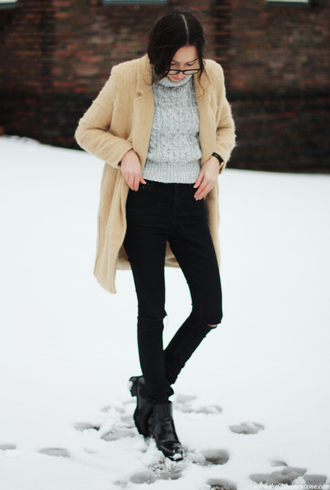 the fashion cuisine blogger turtleneck winter sweater grey sweater fuzzy coat winter coat winter outfits black jeans beige fluffy coat