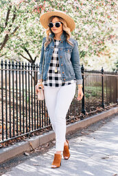 shoes,summer hat,black and white checkered shirt,denim jacket,white jeans,brown mules,blogger,round sunglasses,pants