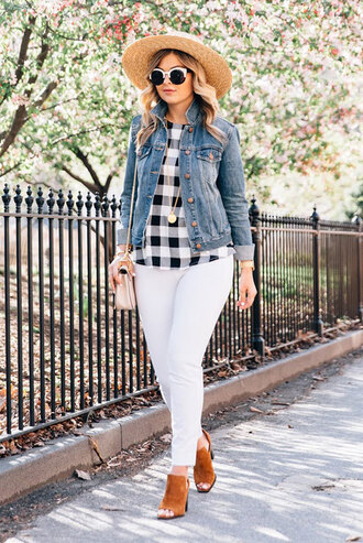 shoes summer hat black and white checkered shirt denim jacket white jeans brown mules blogger round sunglasses pants