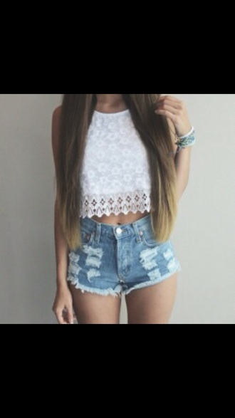 blouse crochet lace crop tops white