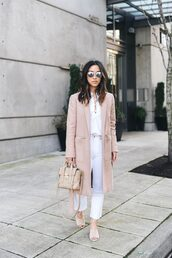 coat,tumblr,camel,camel coat,shirt,white shirt,lace up,jeans,white jeans,shoes,nude shoes,mules,bag,white and beige,nude bag,beige,sunglasses,spring outfits,spring work outfit