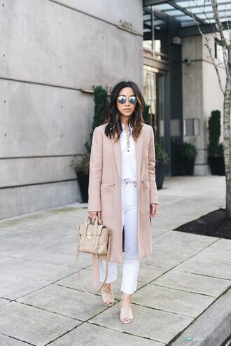 coat tumblr camel camel coat shirt white shirt lace up jeans white jeans shoes nude shoes mules bag white and beige nude bag beige sunglasses spring outfits spring work outfit