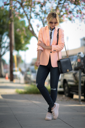 late afternoon blogger jacket jeans t-shirt shoes jewels bag
