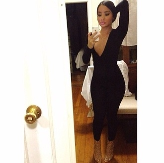 deep v neck v neck plunge party outfits classy jumpsuit bodycon boobs