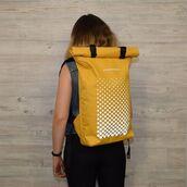 bag,kossmoss,backpack,yellow,reflective,rolltop backpack,rolltop bag,roll top backpack,roll top bag,womens backpack