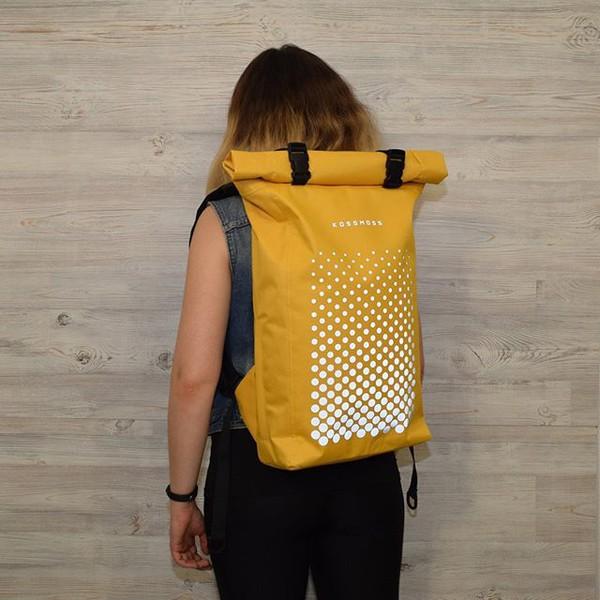 bag kossmoss backpack yellow reflective rolltop backpack rolltop bag roll top backpack roll top bag womens backpack