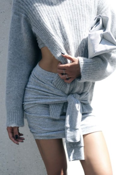 skirt grey jumper winter outfits knitwear always judging match