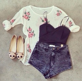 shirt floral flowers pink cream girly cute nice pretty vintage retro shoes sweater shorts blouse summer roses