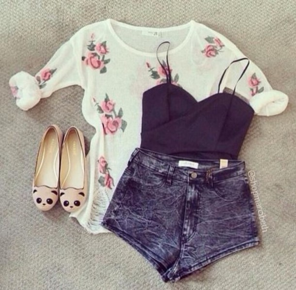 shirt floral flowers flowers pink cream girly cute nice pretty vintage retro shoes sweater shorts blouse tank top summer roses floral