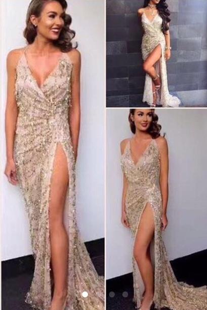dress golden sequin strap dress