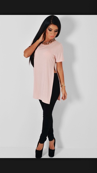 shirt baby pink side slit top t-shirt
