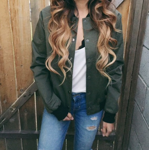 jacket green spring outfits baseball jacket bomber jacket ripped jeans jeans white shirt fall outfits summer spring bralette hair accessory ombre