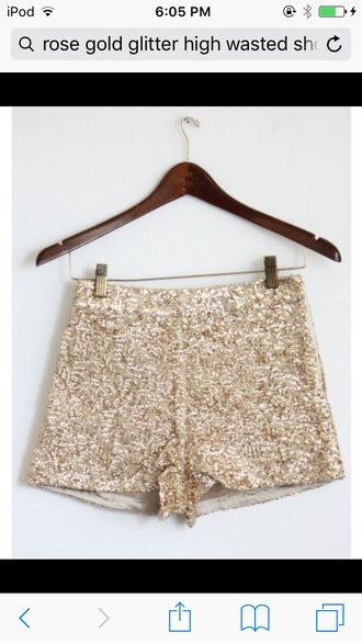 shorts gold sequins high waisted shorts