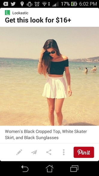 shirt black crop top sleeves off the shoulder white skirt