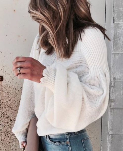 sweater white white sweather balloon sleeve balloon sleeve sweater blonde hair ruffle knitwear knitwear white sweater   oversized sweater balloon sleeve blouse