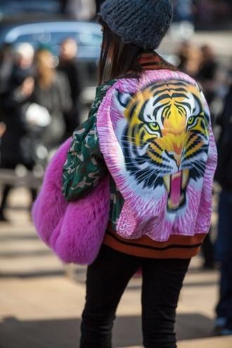 jacket tiger print bomber jacket