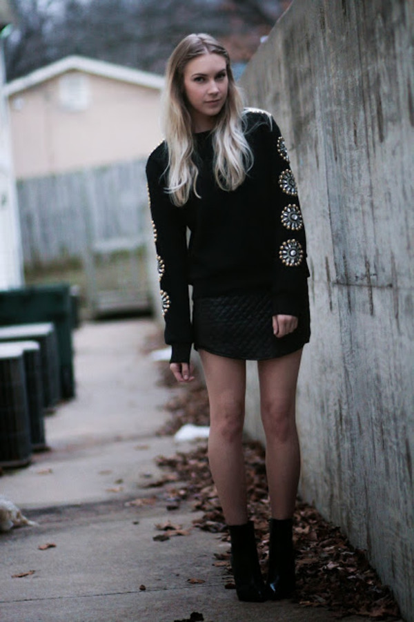 ashley treece sweater skirt embellished top