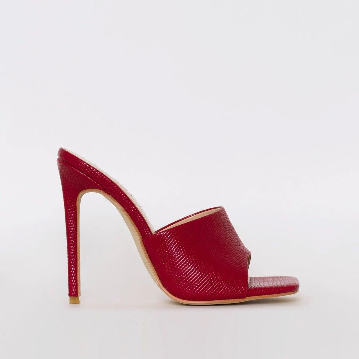 Amalie Red Snake Print Stiletto Mule Heels