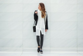 the marcy stop blogger white shirt slip on shoes skinny pants black jacket