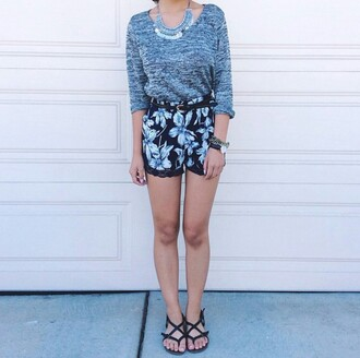 blouse grey shirt cute shorts stylish shorts