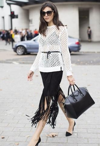 skirt fringe black style