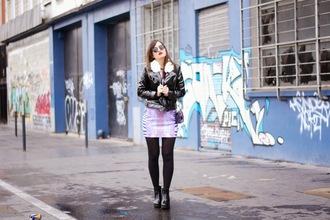 meet me in paree blogger faux leather purple dress dress shoes bag jacket