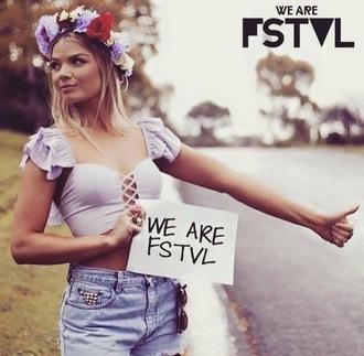 top festival blogger gypsy corset crop-top coachella