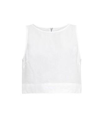 top denim top denim cropped cotton white