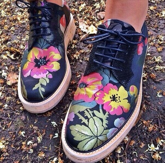 shoes oxfords flowers