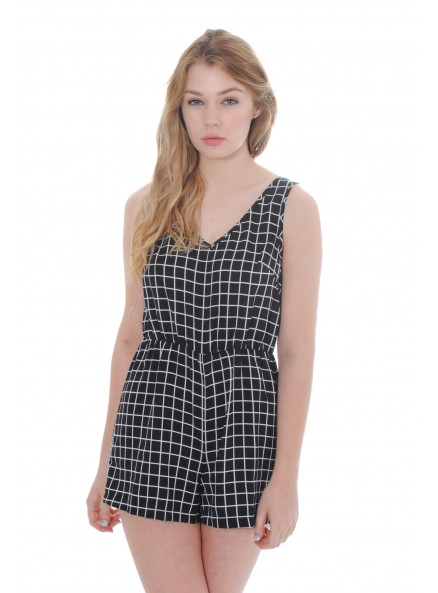 Black Grid Print Playsuit