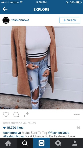 sweater tumblr tumblr outfit coat jeans fall outfits fall sweater white stripes cute