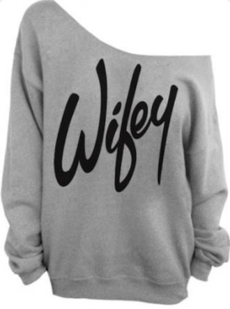 blouse wifey grey sweatshirt ysl one shoulder married