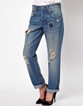 ASOS   ASOS Saxby Boyfriend Jeans in Light Wash Vintage Rip and Repair at ASOS