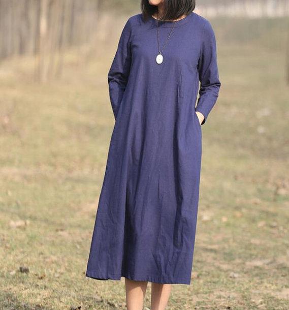 dress dark blue long dress