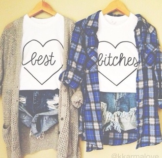 blouse hipster hipster outfit grunge grunge outfit bff distressed denim shorts flannel shirt cardigan sweater shorts squares short squares t-shirt best bitches white blue plaid button up shirt heart white shirt cotton soft friends b-day present uk plaid button up small both of them best friend shirts cute top heart shaped
