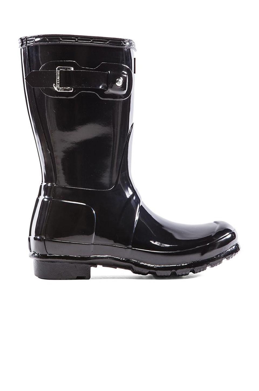 Hunter Original Short Gloss Boot in black