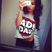 sweater,adidas,oversized sweater,sweatshirt,love,swag,streetstyle,iphone,shirt,t-shirt,red t-shirt,sexy,badass,curly hair