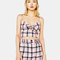 Checked top with knot - new - bershka spain
