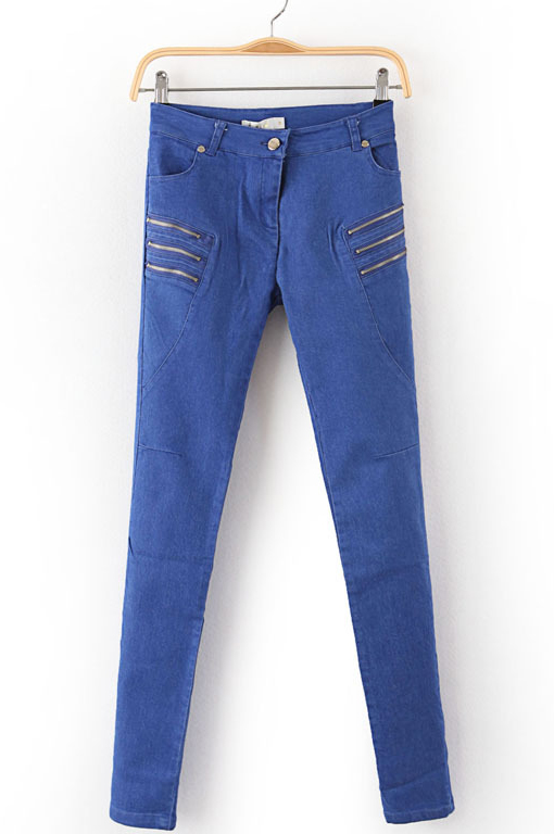 Blue Zipper Embellished Pockets Denim Pant - Sheinside.com