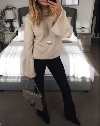 sweater tumblr beige sweater bell sleeve sweater bell sleeves pants black pants flare pants bag gucci gucci bag dionysus necklace silver necklace