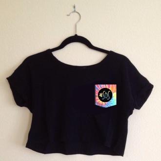 t-shirt pocket black crop tops pattern top 5sos crop top