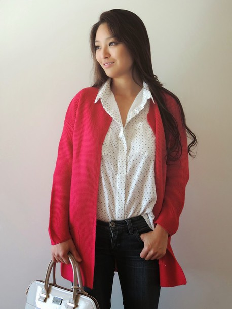 sensible stylista blogger bag jeans top cardigan