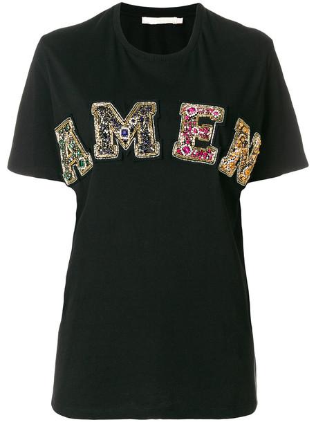 Amen - sequin logo T-shirt - women - Cotton/glass/metal/Polyester - 42, Black, Cotton/glass/metal/Polyester