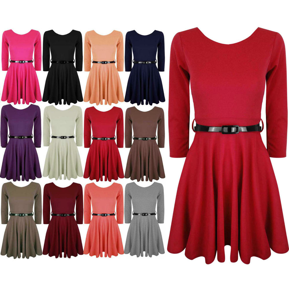 Womens Skater Dress Belted 3 4 Sleeves Short Mini Party Dresses Top 8 10 12 14 | eBay