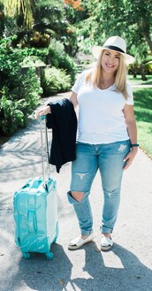 landing - april golightly,blogger,t-shirt,jacket,jeans,hat,shoes,white top,white hat,ripped jeans,suitcase,flats,curvy,white t-shirt,blue jeans,spring outfits,espadrilles,chanel espadrilles