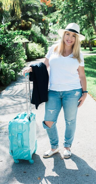 landing - april golightly blogger t-shirt jacket jeans hat shoes white top white hat ripped jeans suitcase flats curvy white t-shirt blue jeans spring outfits espadrilles chanel espadrilles