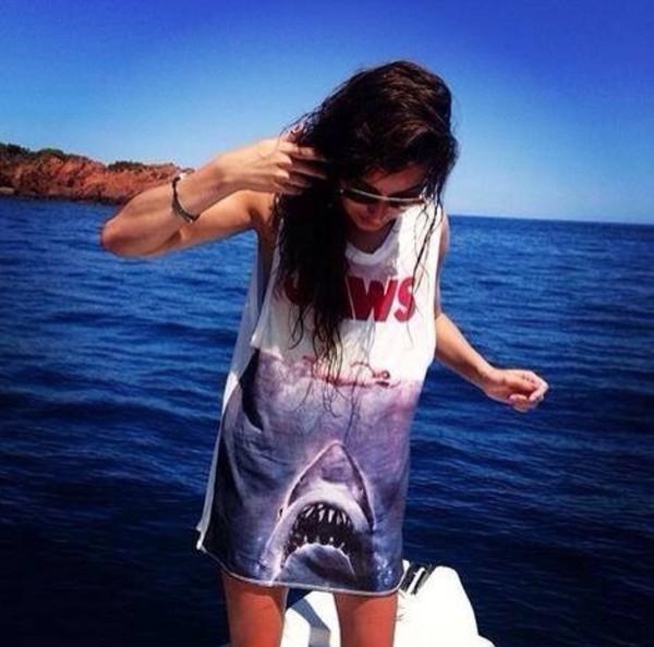 dress shark blue dress white dress red dress red white blue shark attack