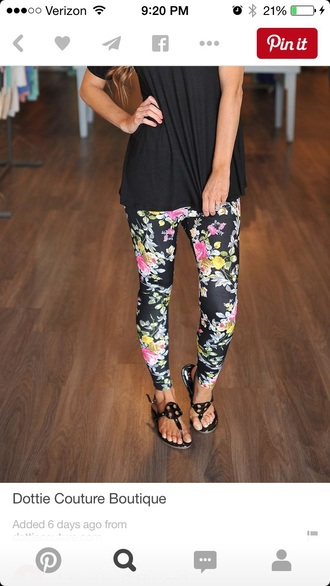 leggings floral leggings floral pants black flowers