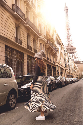 the fashion fraction blogger sweater skirt shoes bag belt hat beanie spring outfits sneakers maxi skirt striped skirt
