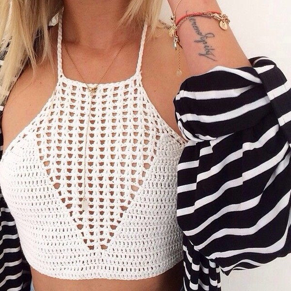 top crochet crop top beige crop tops girly cute girly outfits tumblr tumblr outfit tumblr boho shirt shirt halter neck cute shirt tank top pretty white white crop tops knitted sweater cute top cute sweaters style halter top see through cardigan halter crop top